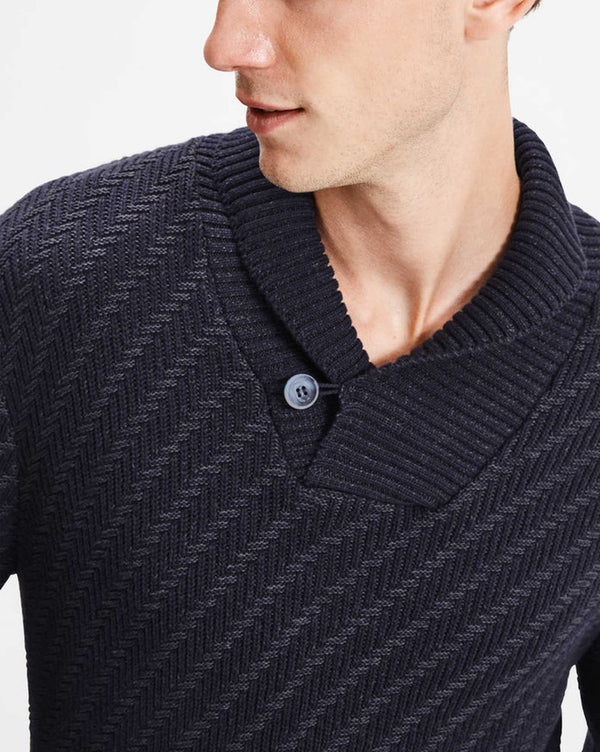 Pullover homme casual en maille navy