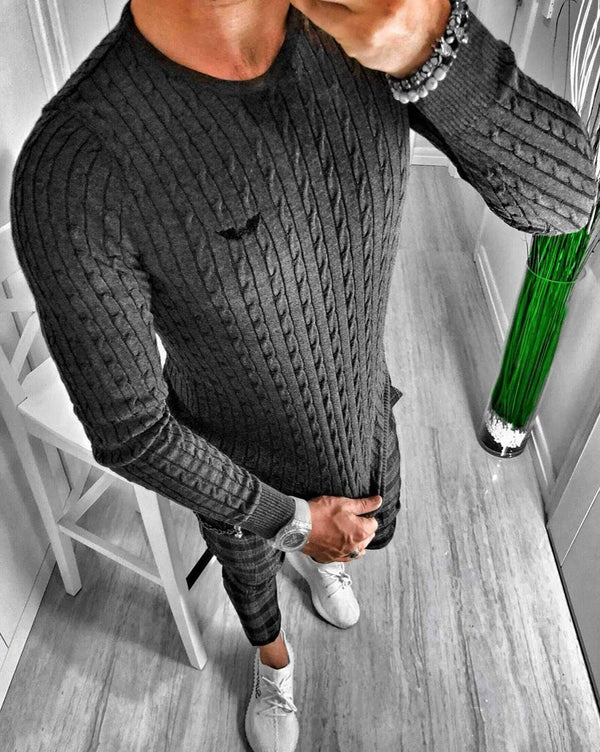 Pull homme anthracite col rond en maille chevrons