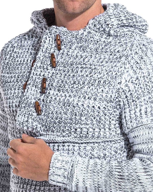 Pull grosse maille blanc chiné à capuche