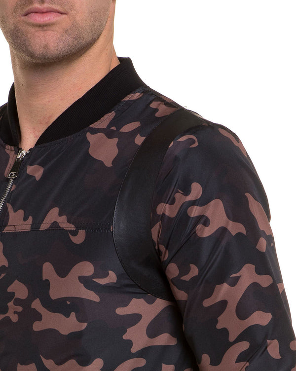 Veste fashion homme zippé camouflage marron
