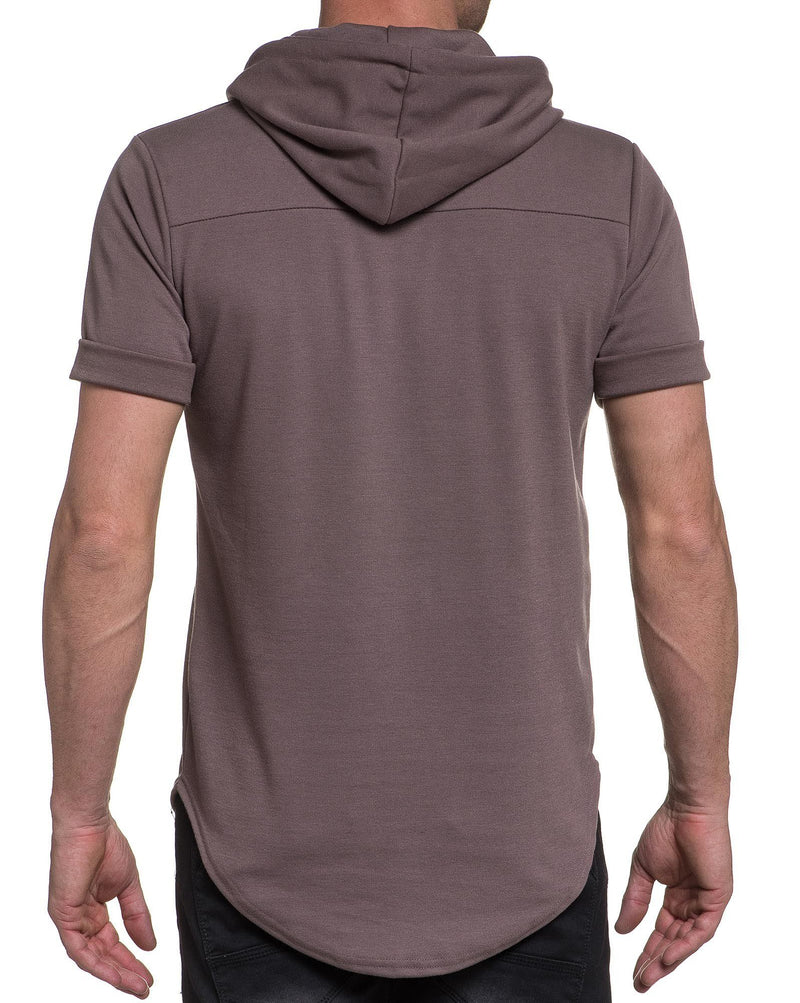 Tee-shirt homme taupe à capuche et coupe oversize