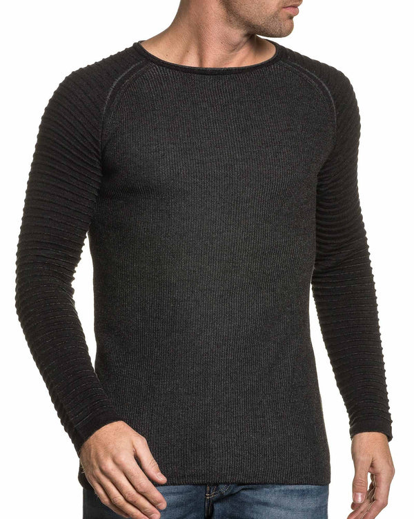 Pull fashion homme noir maille relief