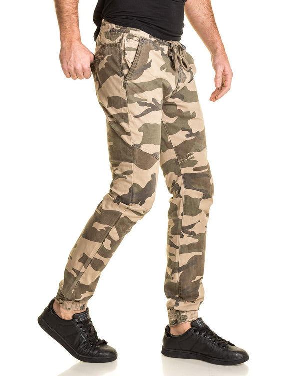 Jogger pant homme beige camouflage