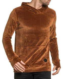 Sweat homme marron en velour à capuche