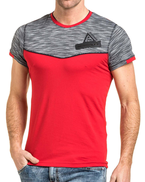 Tshirt moulant homme rouge stylé