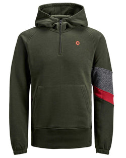 Sweat à capuche poches kangourou SELECT kaki zippe