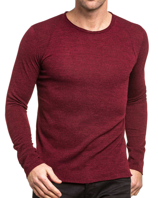 Pull homme bordeau long col rond