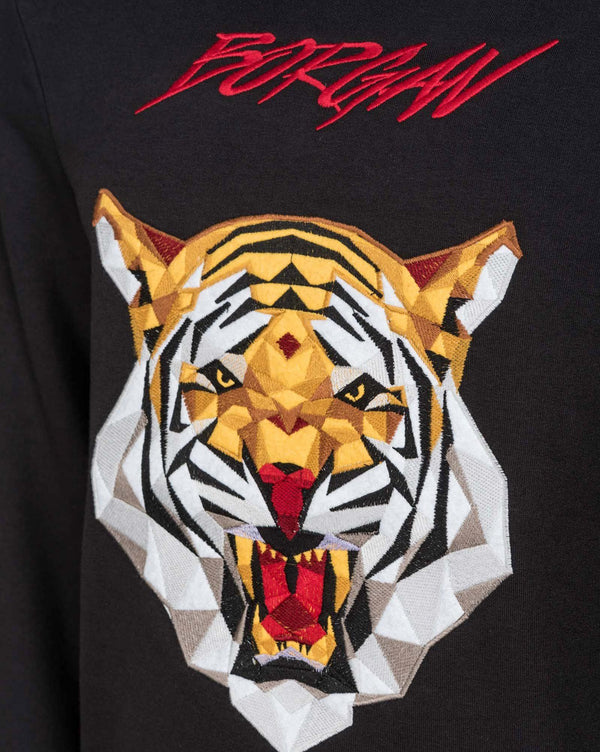 Sweat noir broderie tiger haute couture