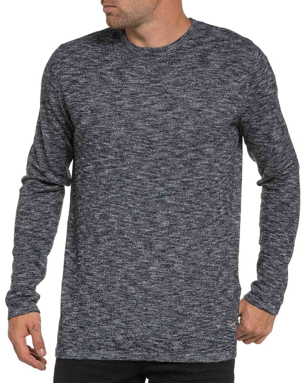 Pull homme navy chiné polyvalent fine maille