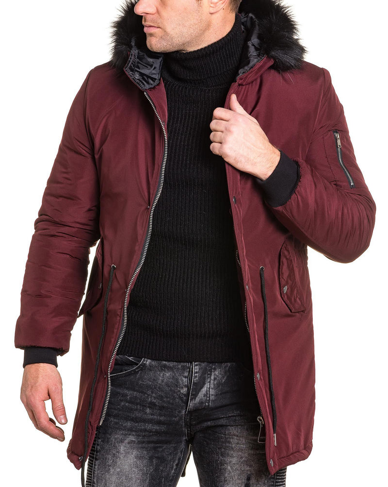 Bomber long bordeau homme capuche fourrure