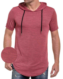 Tee-shirt homme rouge oversize maille et capuche