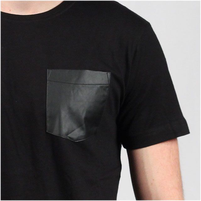 Leather Imitation Pocket Tee