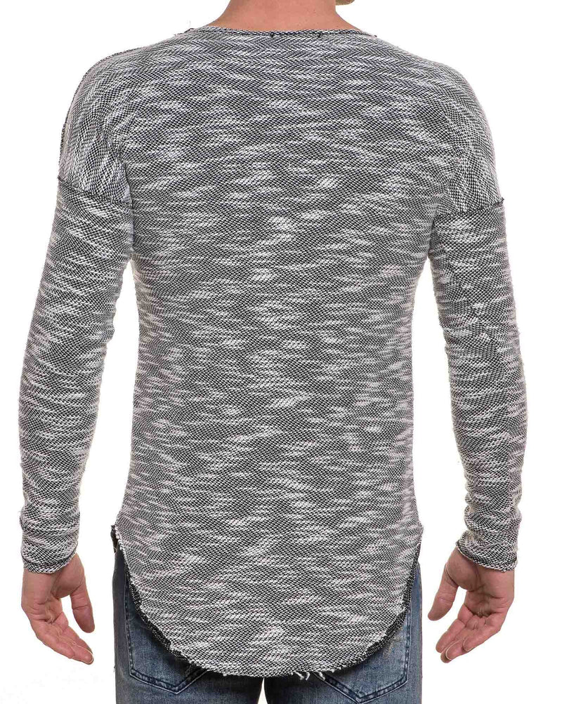 Pull fin gris maille bicolor stylé oversize arrondie