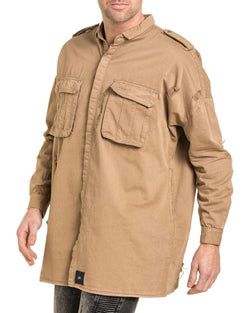 Chemise homme destroy oversize beige coupe large
