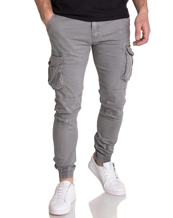 Pantalon gris multipoches coupe slim