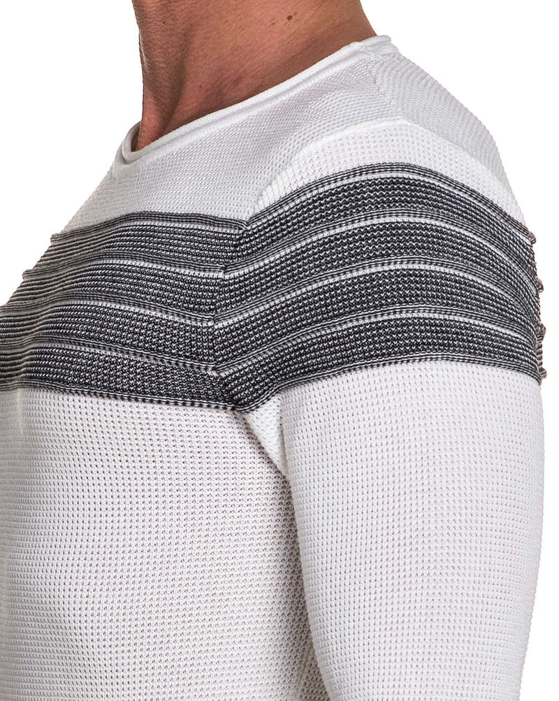 Pullover homme blanc fine maille bande chiné