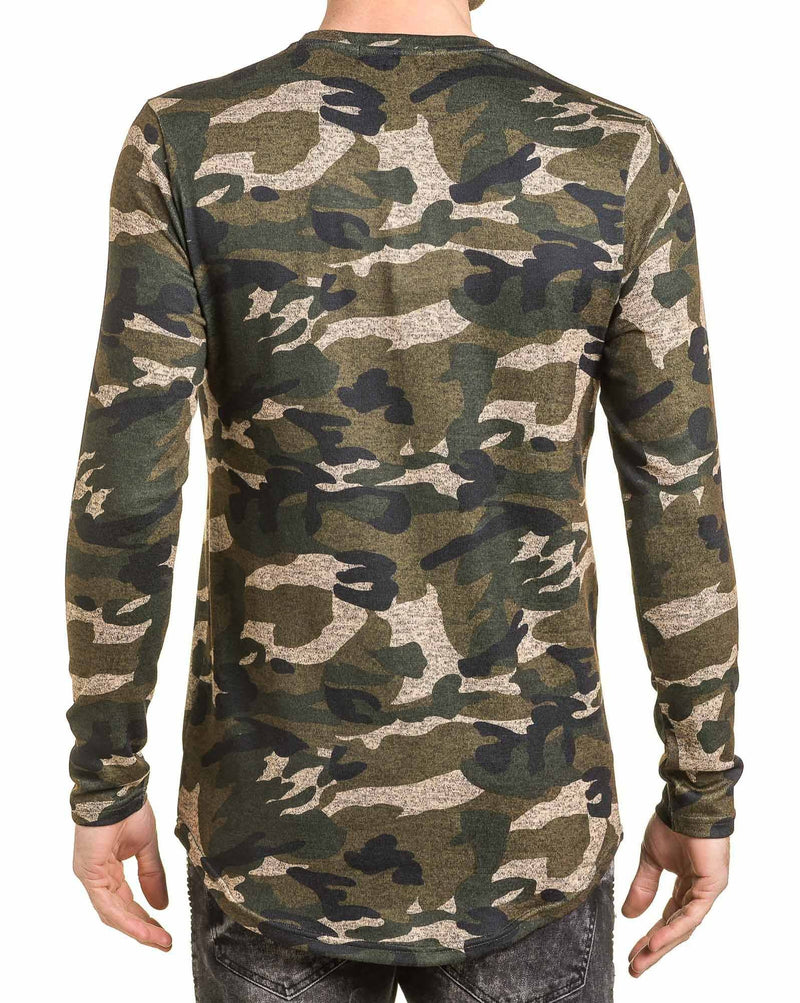 Ts-hirt homme kaki camouflage oversize manches longues