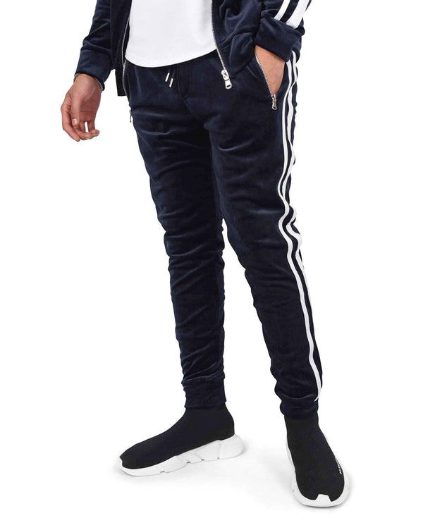 Pantalon de jogging velour double bandes