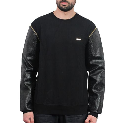 Ostrich Z/O Leather Sleeve Crewneck Sweater