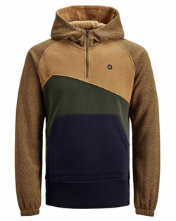 Sweat SELECT de marque capuche col zippe tri color