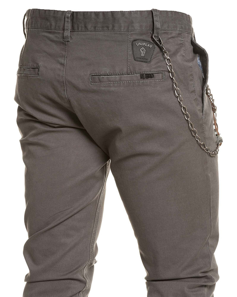 Pantalon chino gris troué fashion