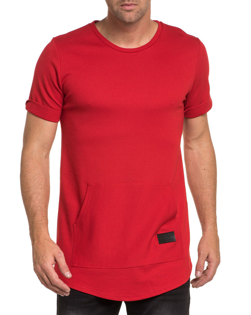 T-shirt fashion rouge uni poche kangourou