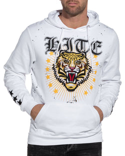 Sweat homme tiger blanc etoiles brodées