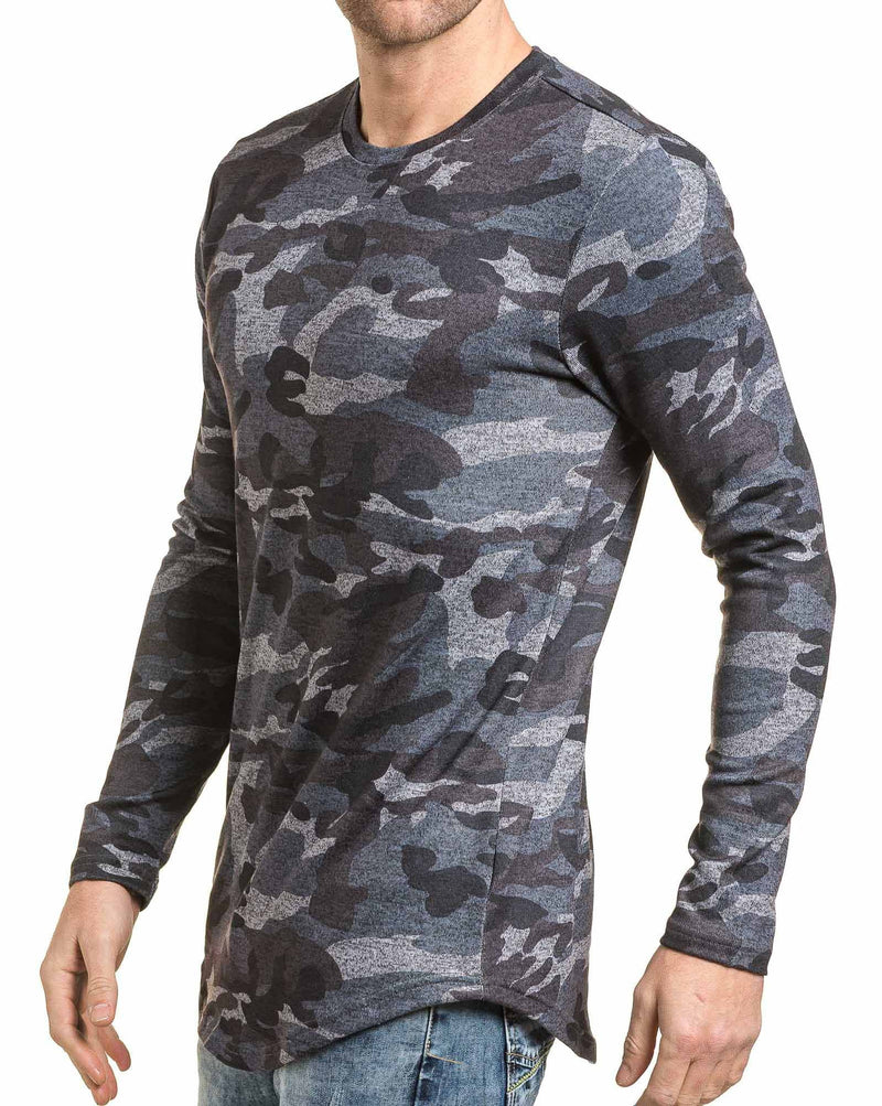 Tshirt homme manches longues bleu camouflage oversize
