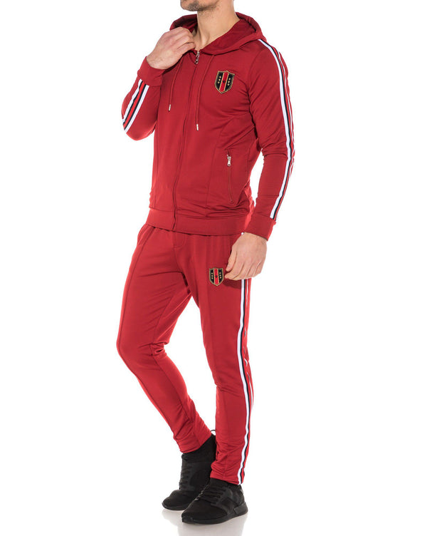 Ensemble de jogging rouge à capuche