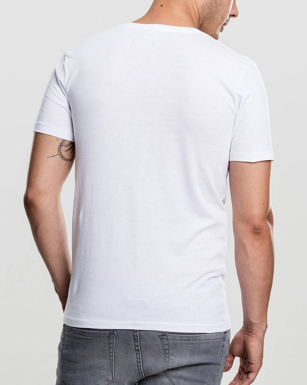 Tee-shirt Homme Blanc Col V manches courtes avec poche