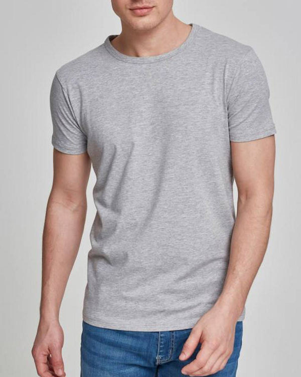 Tee-shirt Col rond homme basic stretch gris clair à manches courtes