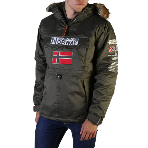 Coupe vent hiver kaki à capuche fourrure Geographical Norway - Barman_man