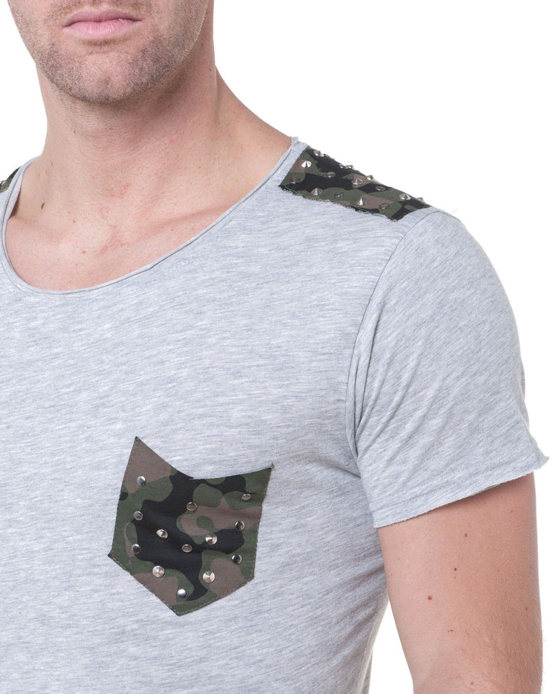 Tee-Shirt Homme Gris Manches Courtes