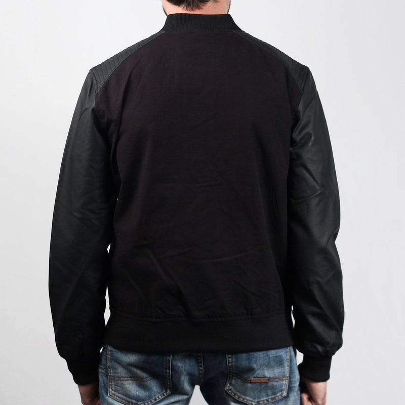 Cotton Bomber Leather Imitation Sleeve Jacket