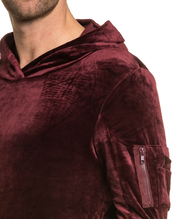 Sweat homme bordeau en velour poche kangourou