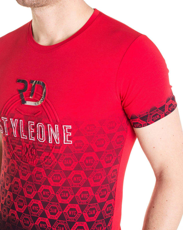 Tee shirt rouge 7054 avec inscription en 3D