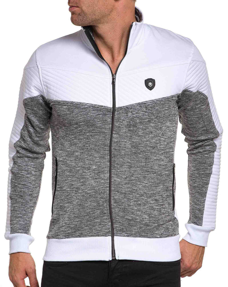 Sweat zippé blanc et gris chiné nervuré fashion