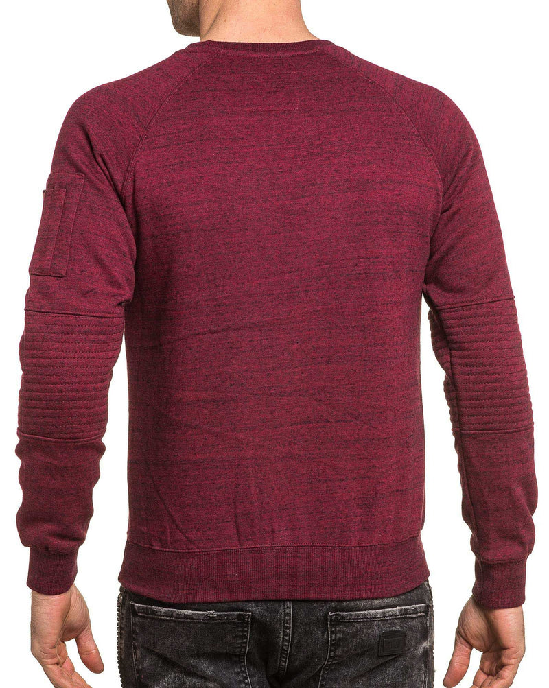 Sweat homme bordeau chiné poche effet bomber