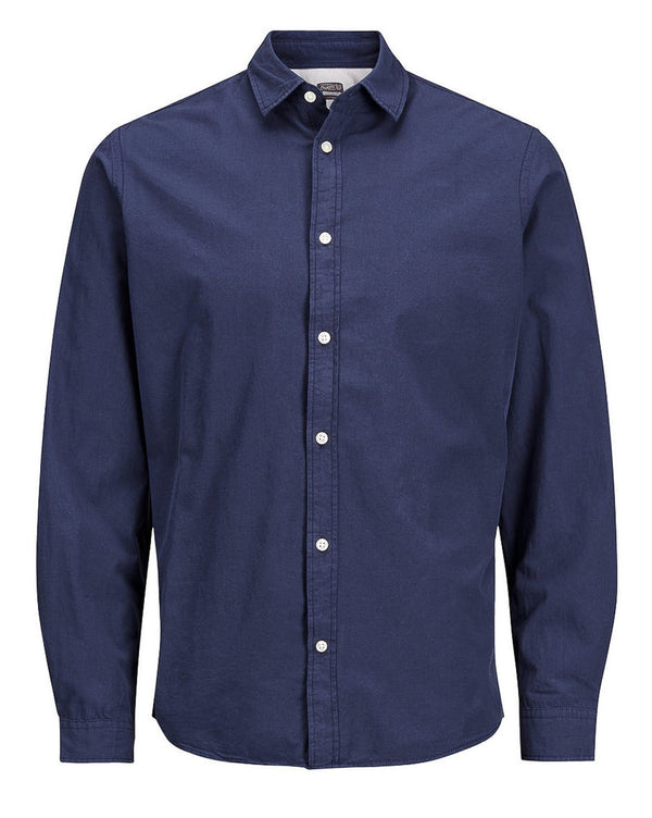 Chemise homme casual bleu navy manches longues