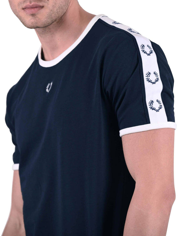 Tee-shirt homme navy style rétro bandes octogones