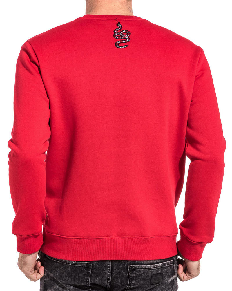 Sweat homme rouge brodé snake