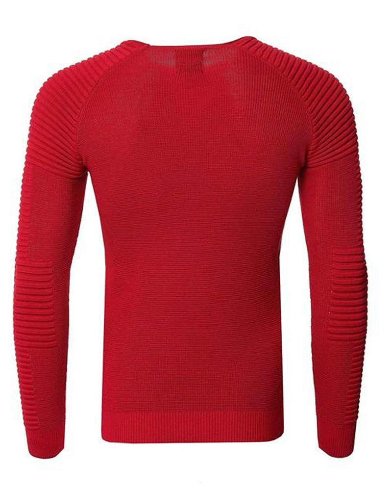 Pullover rouge slim manches nervurées