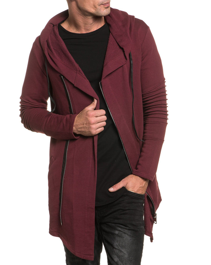 Gilet oversize bordeau zippé nervuré fashion