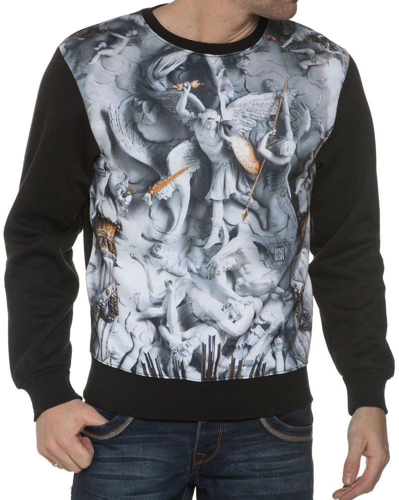 Sweat Noir Col Rond Anges