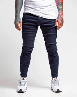 Jean bleu marine coupe slim stretch homme