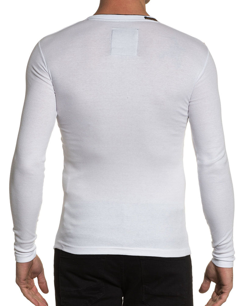 Tee-shirt homme blanc col V manches longues