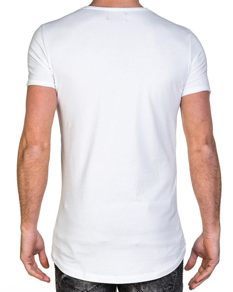 T-shirt homme blanc fashion poche trouée