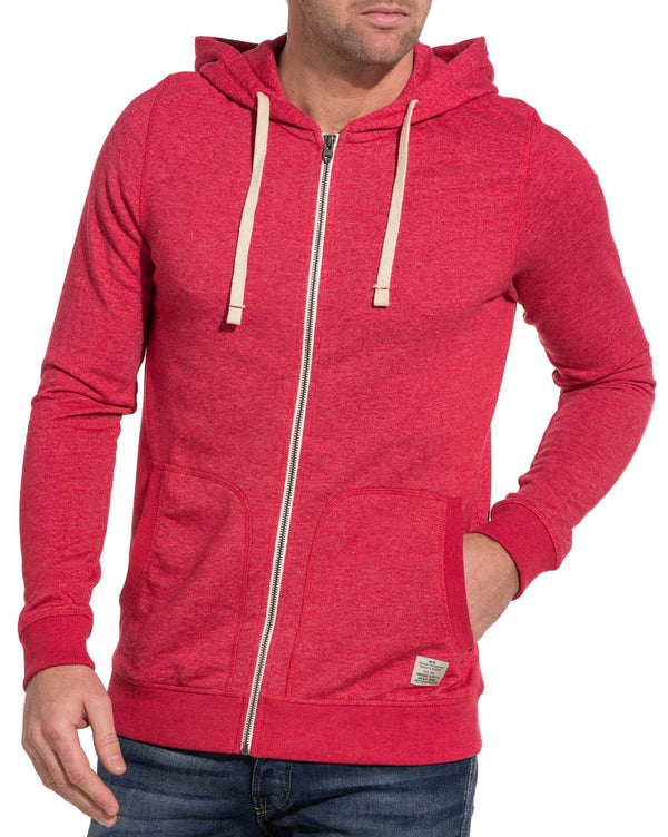 Casual sweat-shirt homme rouge zippé à capuche
