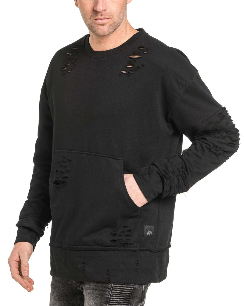 Sweat homme noir oversize destroy coupe large
