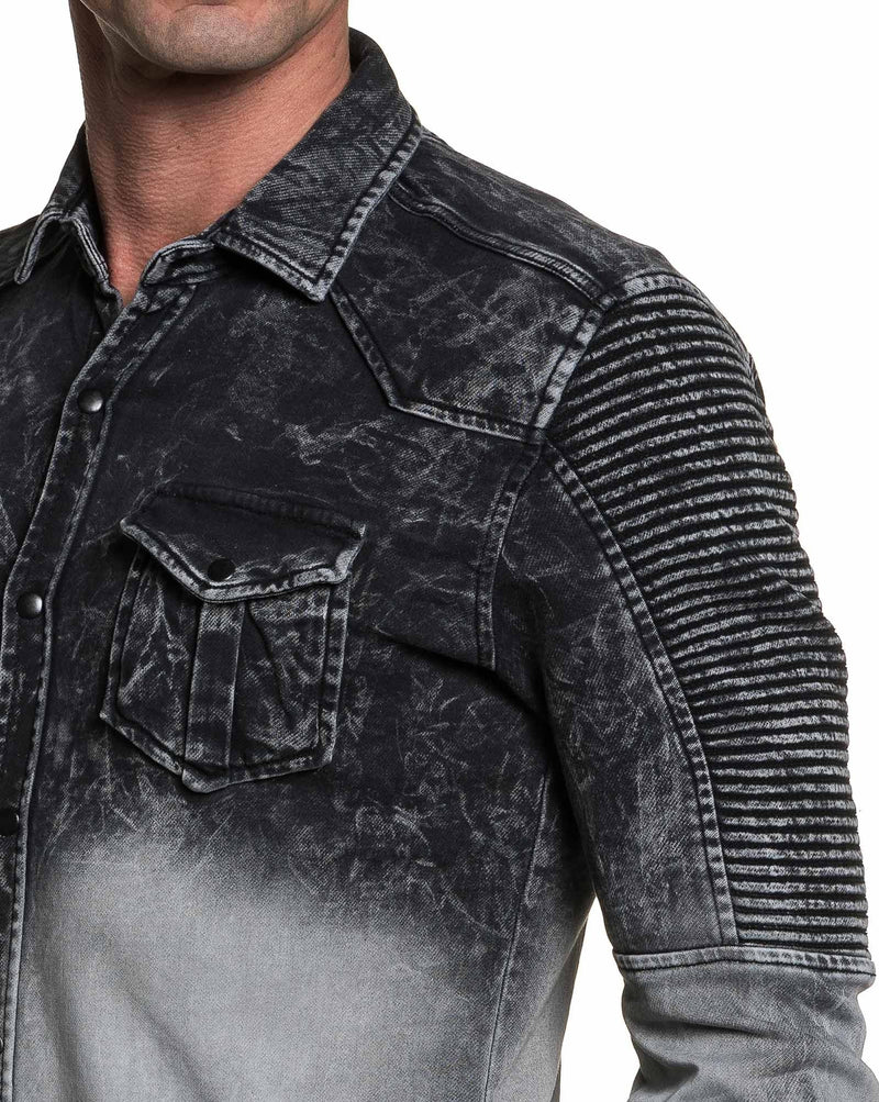 Chemise en jean homme grise tie and dye tendance